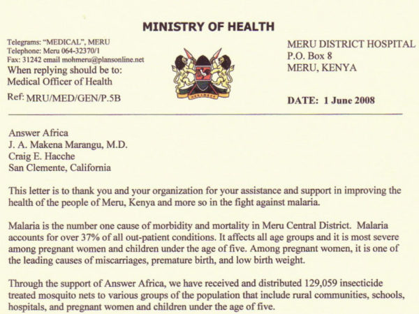 Letters of Accommodation to Answer Africa Ministry of Health Kenya